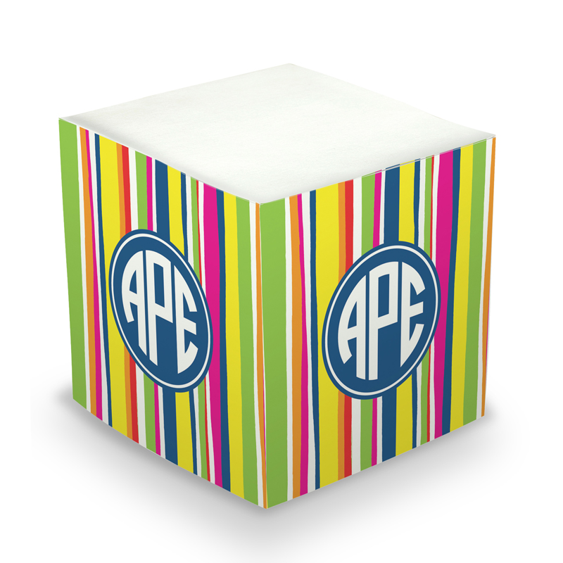 Sticky Note Cube - Bright Stripes