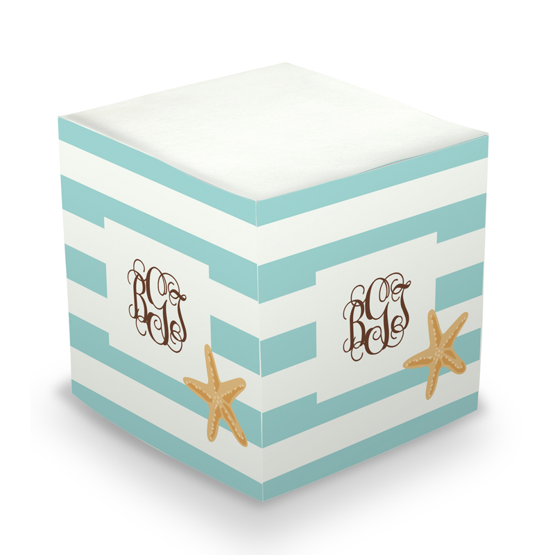 Sticky Note Cube - Stripe Starfish