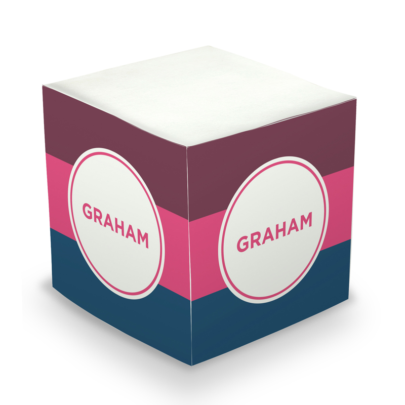 Sticky Note Cube - Great Gifts Stripe Plum, Hot Pink & Liberty