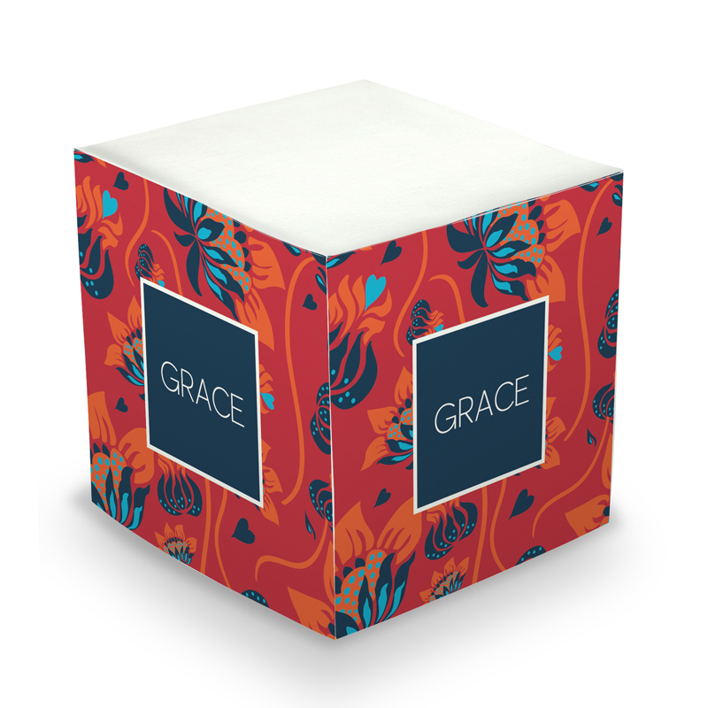 Sticky Note Cube - Mia Flowers Red