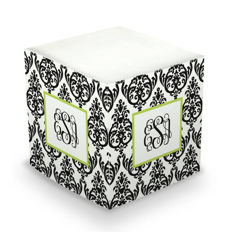 Sticky Note Cube - Madison Damask White & Black