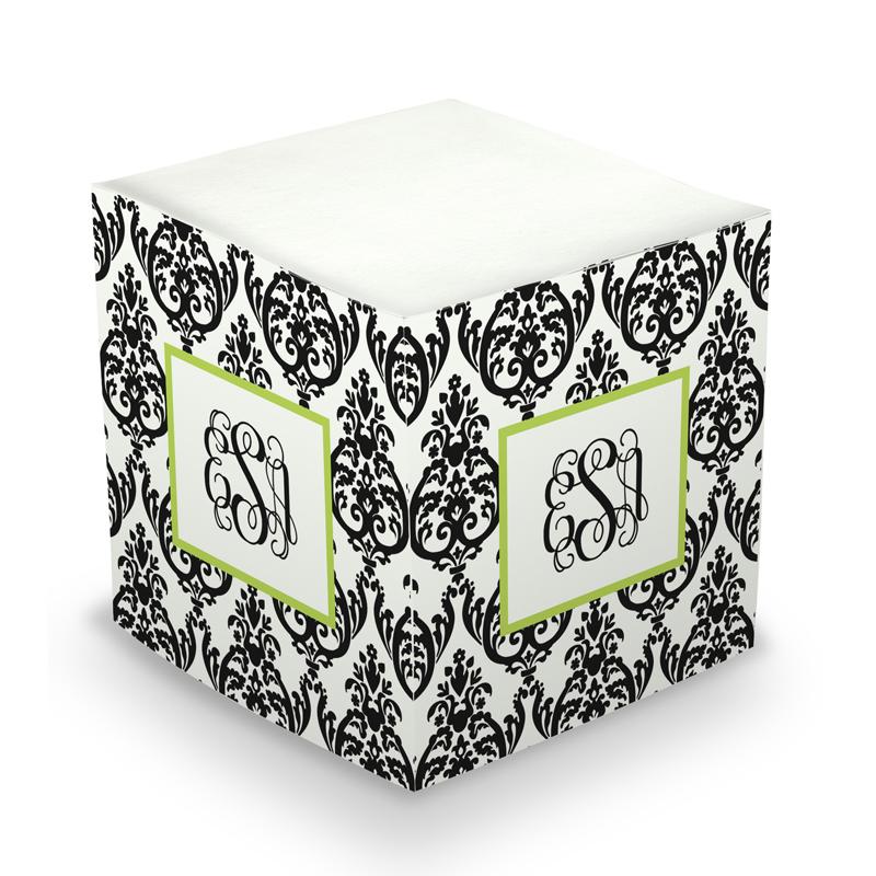 Sticky Note Cube - Madison Damask White & Black