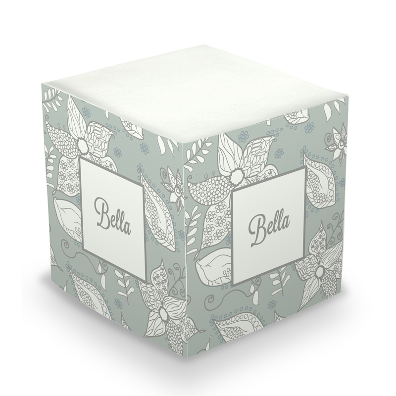 Sticky Note Cube - Vintage Flowers Grey