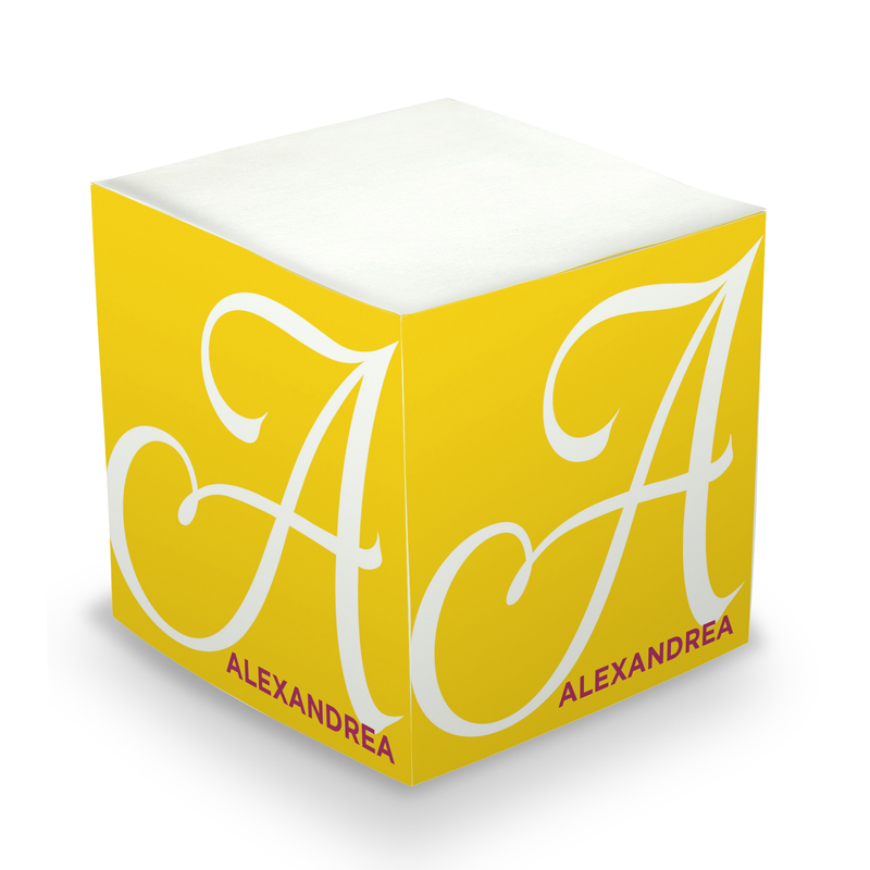 Sticky Note Cube - Sunshine Initial
