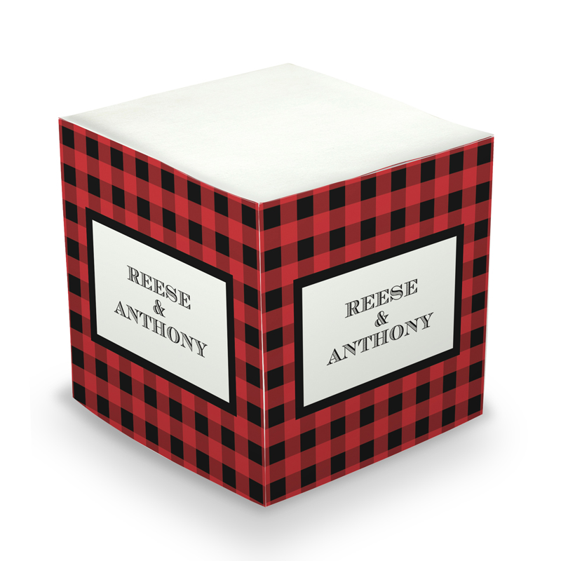 Sticky Note Cube - Black & Red Plaid