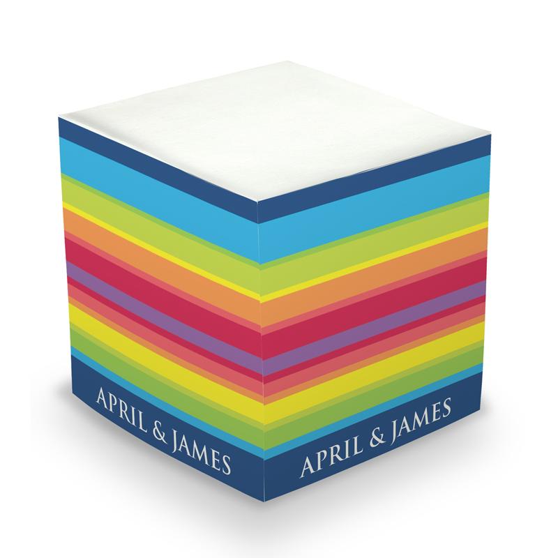 Rainbow Stripe Sticky Memo Cube 675 sheets