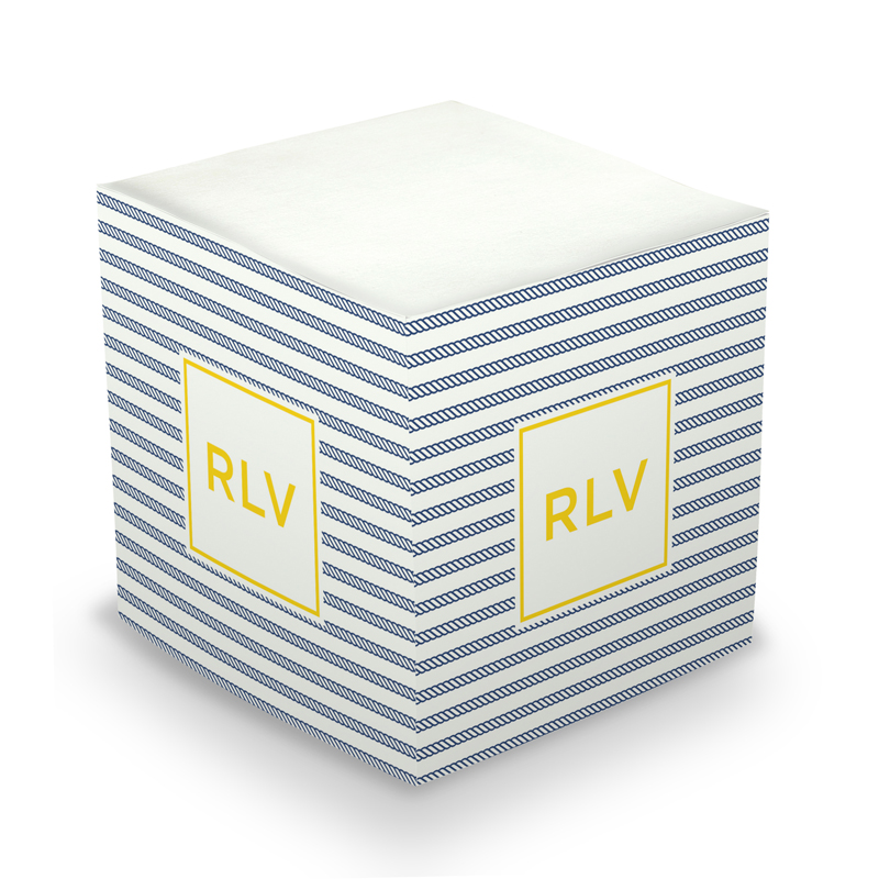 Rope Stripe Navy Sticky Memo Cube 675 sheets