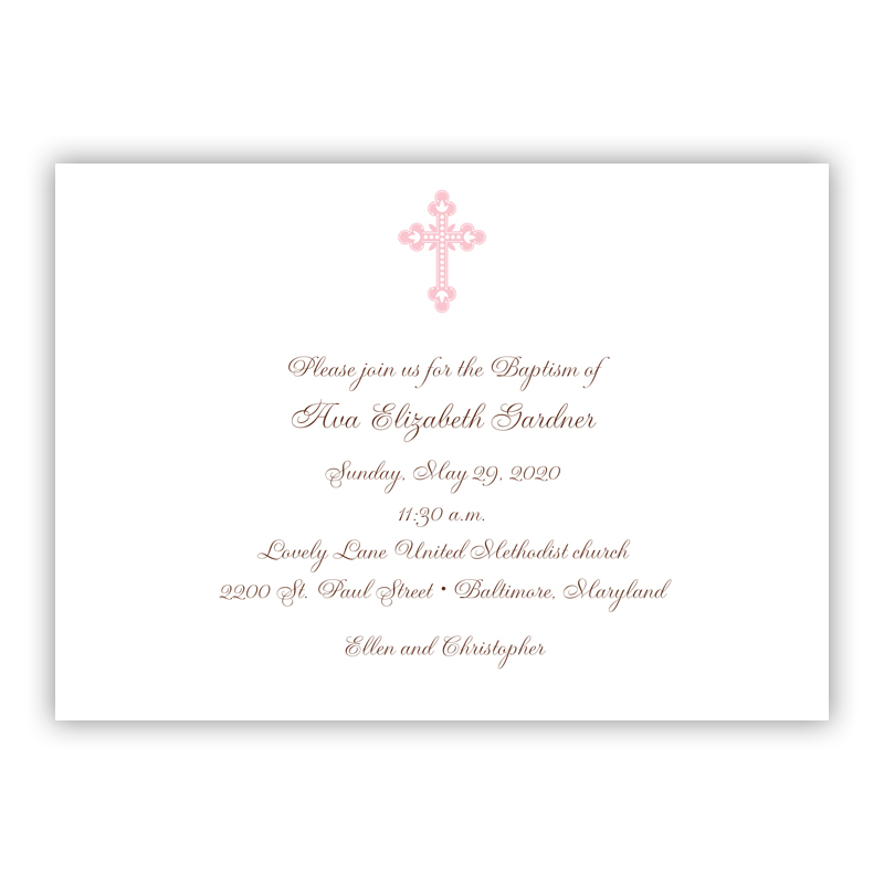 Cross Ornate Invitation or Announcement, sets of 25