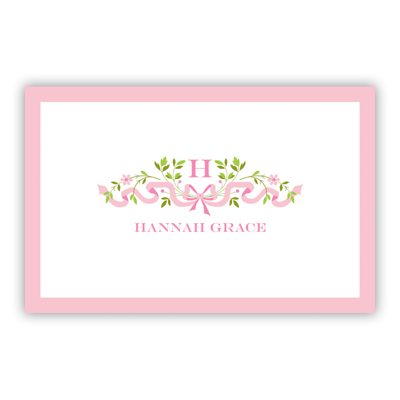 Ribbon Pink Disposable Personalized Placemat, 25 sheet pad