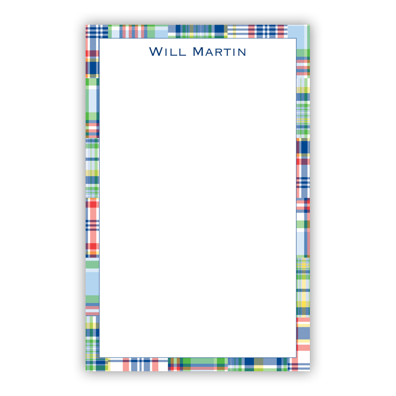 Personalized Madras Patch Blue Notepad (100 sheets)