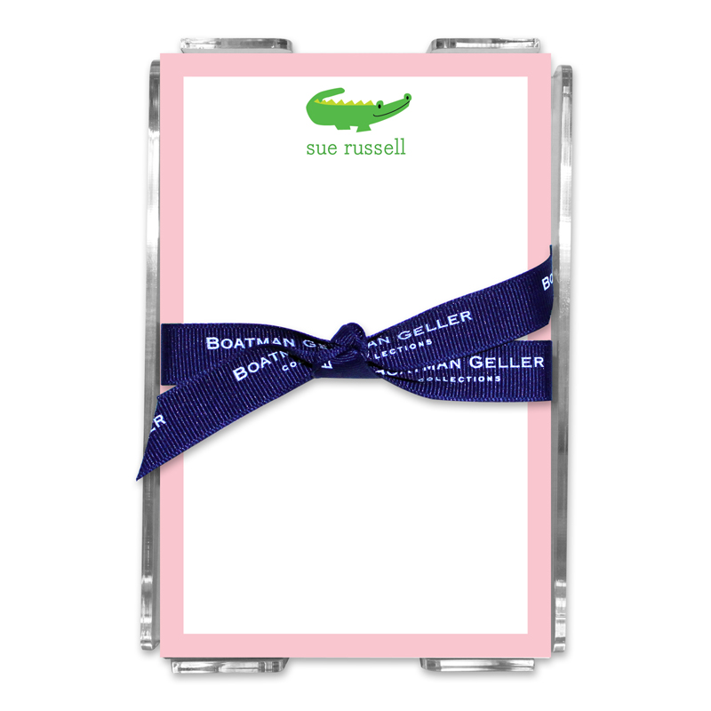 Personalized Alligator Note Sheets in Acrylic Holder