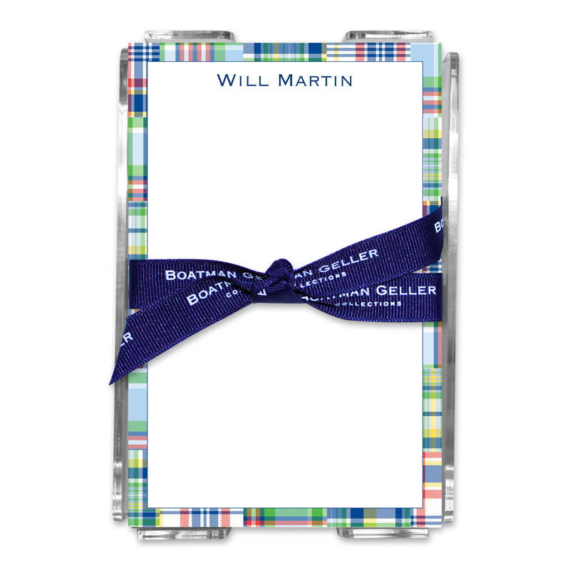 Personalized Madras Patch Blue Note Sheets in Acrylic Holder