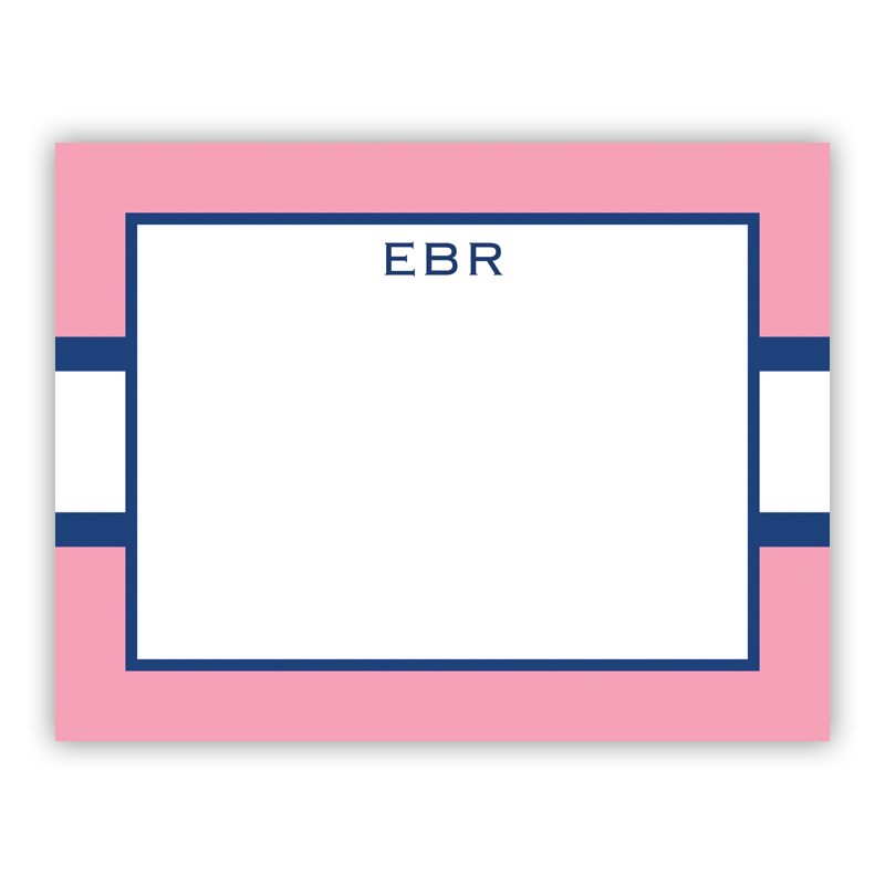 Stripe Light Pink & Navy Small Flat Stationery Note