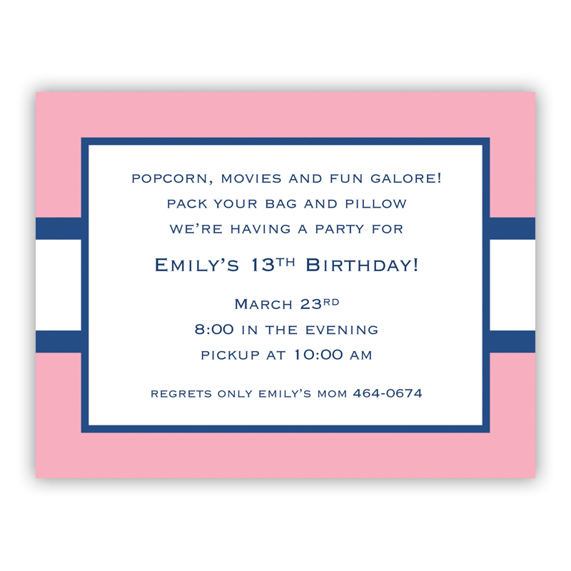 Stripe Light Pink & Navy Small Flat Invitation or Announcement