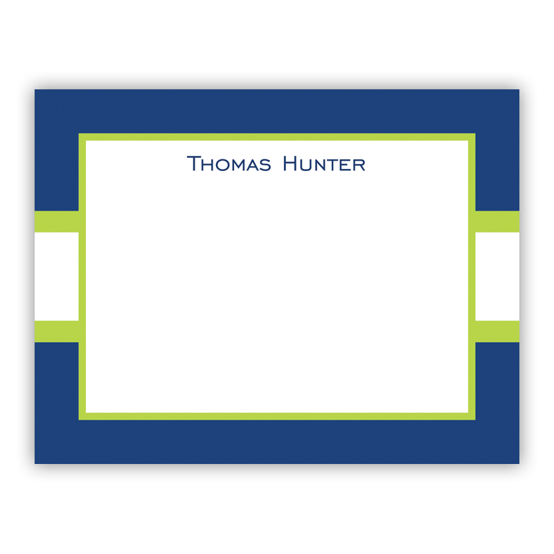 Stripe Navy & Lime Small Flat Stationery Note
