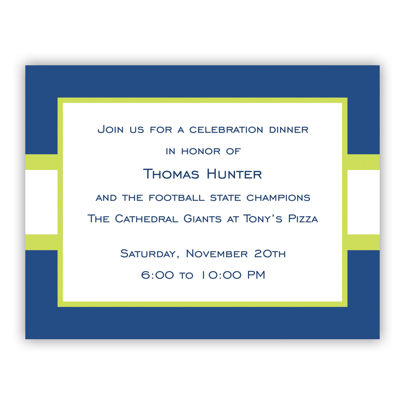 Stripe Navy & Lime Small Flat Invitation or Announcement