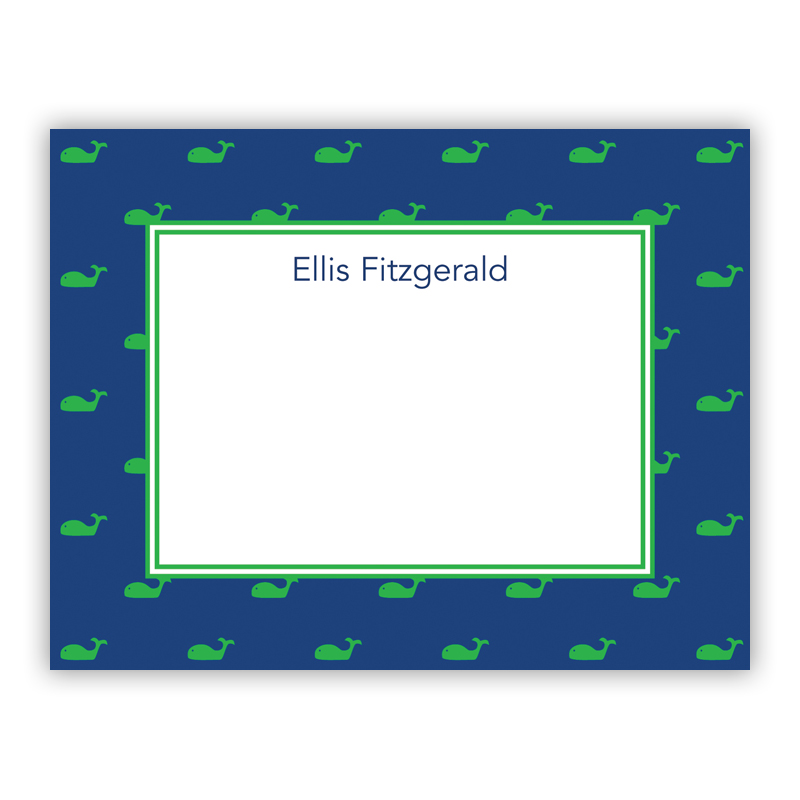 Whale Blue Small Flat Stationery Note