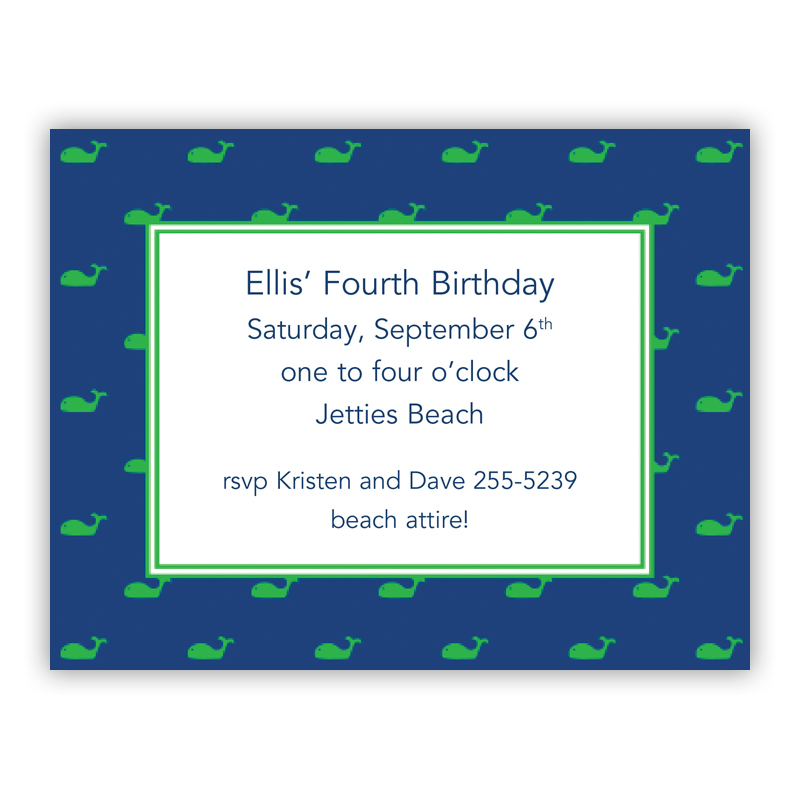 Whale Blue Small Flat Invitation or Announcement