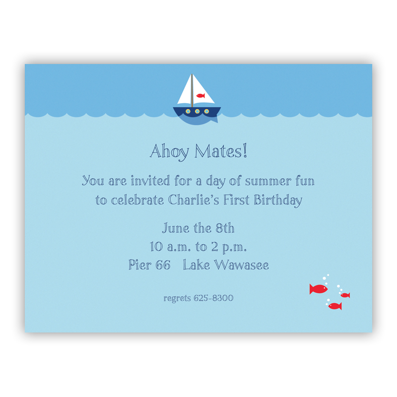Sailboat Small Flat Invitation or Announcement