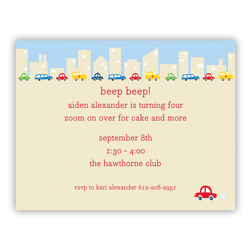 Cars Small Flat Invitation or Announcement