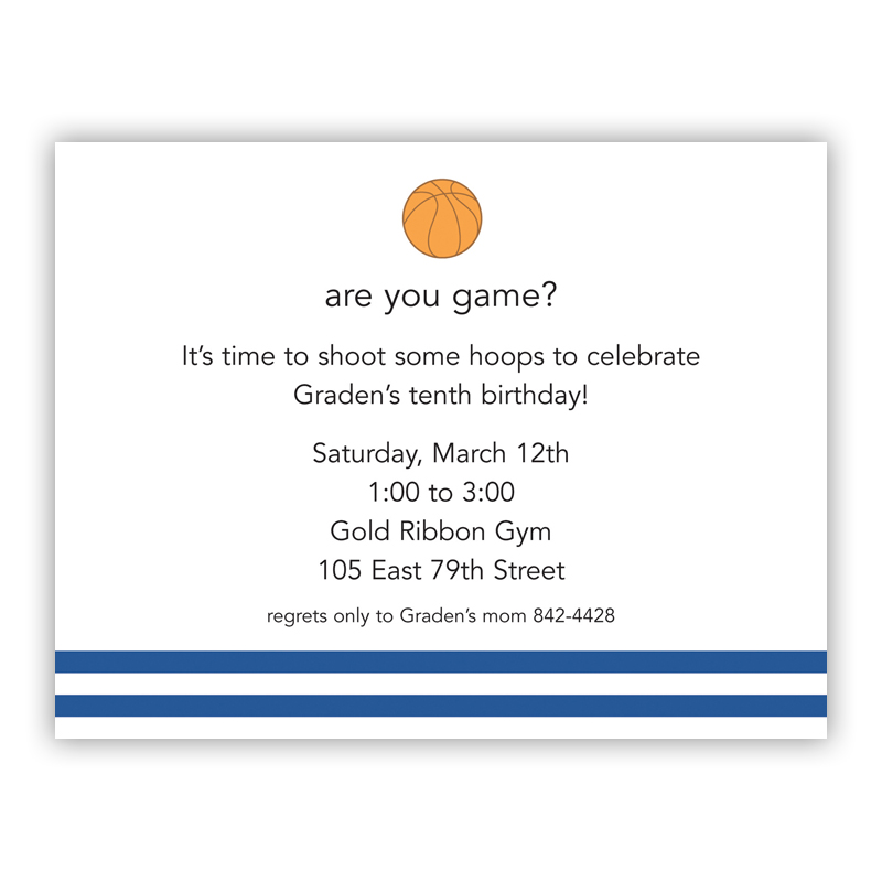 Basketball Small Flat Invitation or Announcement