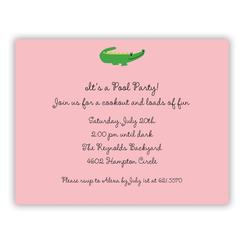 Alligator Pink Small Flat Invitation or Announcement