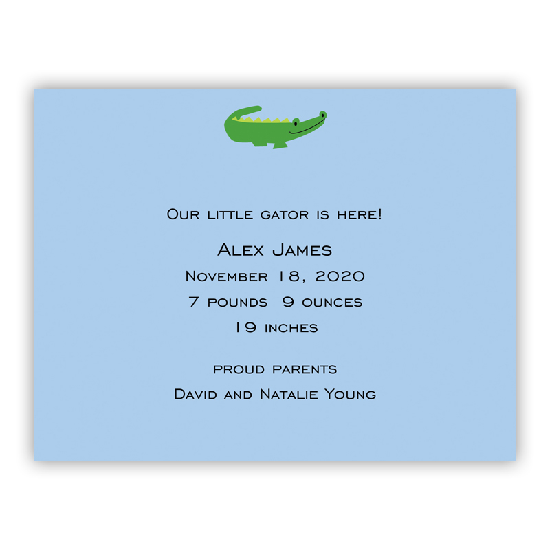 Alligator Light Blue Small Flat Invitation or Announcement