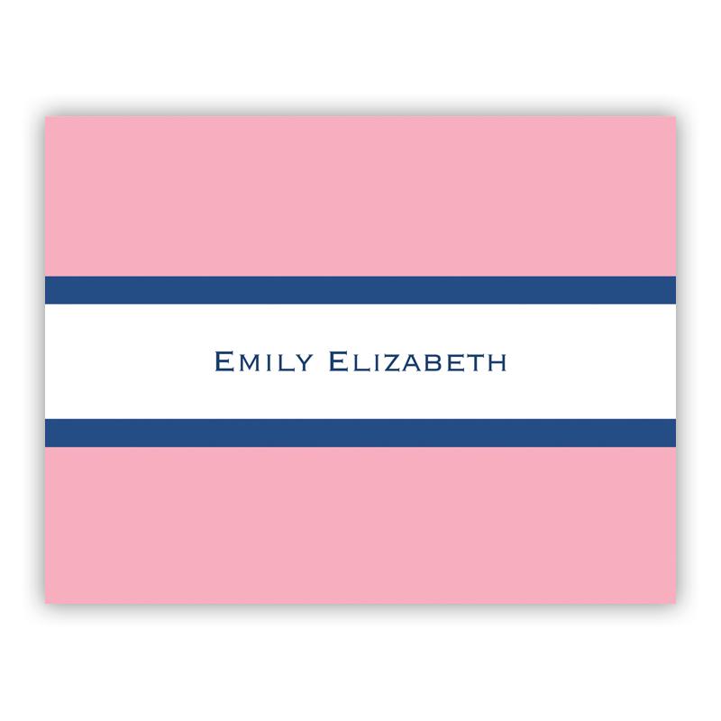Stripe Light Pink & Navy Stationery, 25 Foldover Notecards