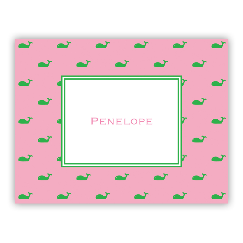 Whale Pink Stationery, 25 Foldover Notecards