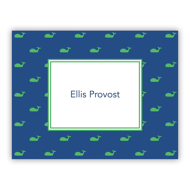 Whale Blue Stationery, 25 Foldover Notecards