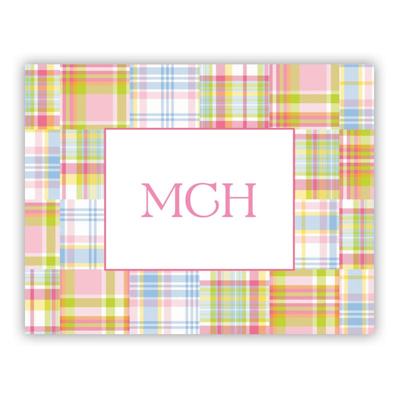 Madras Patch Pink Stationery, 25 Foldover Notecards