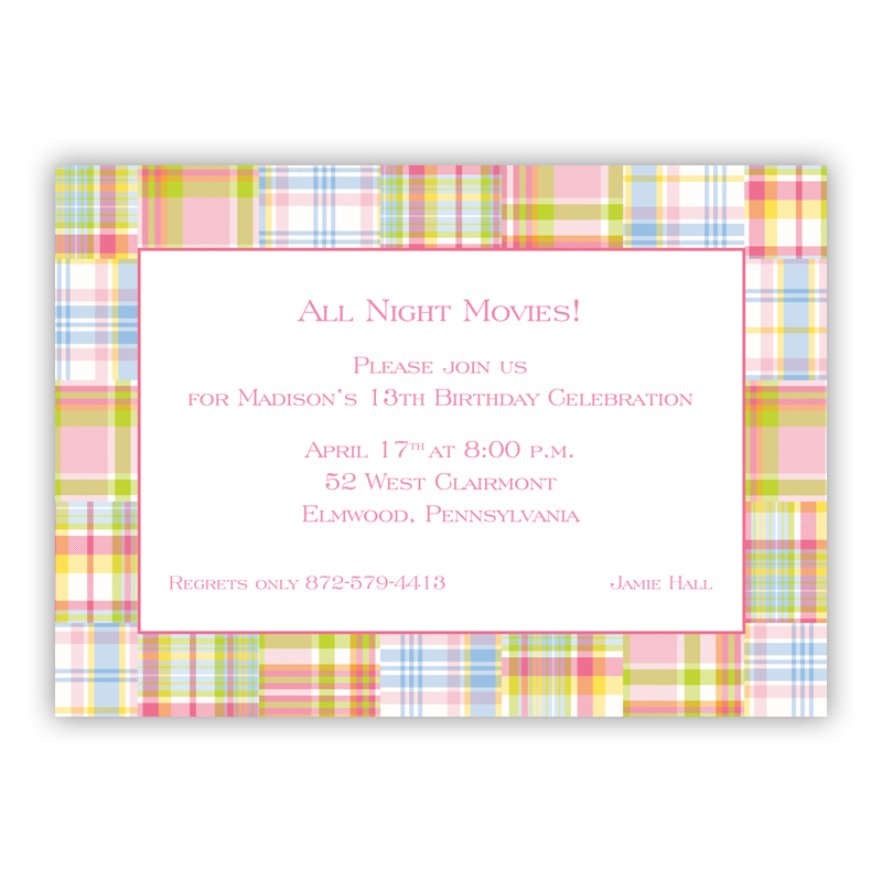 Madras Patch Pink Invitaton or Announcement,  set of 25