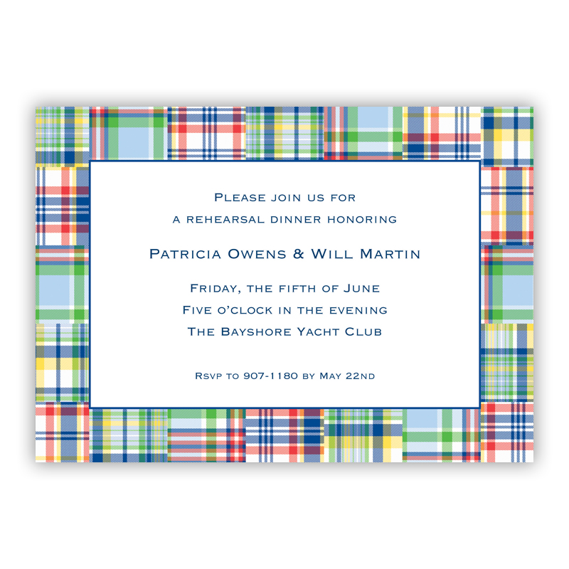 Madras Patch Blue Invitaton or Announcement,  set of 25