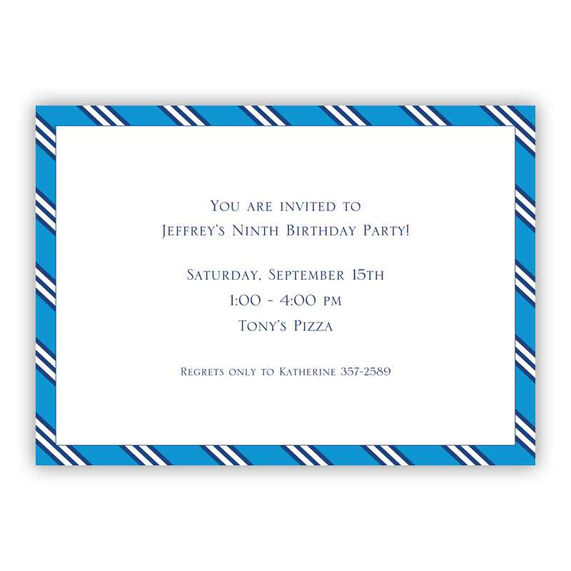 Repp Tie Blue & Navy Invitation or Announcement, sets of 25