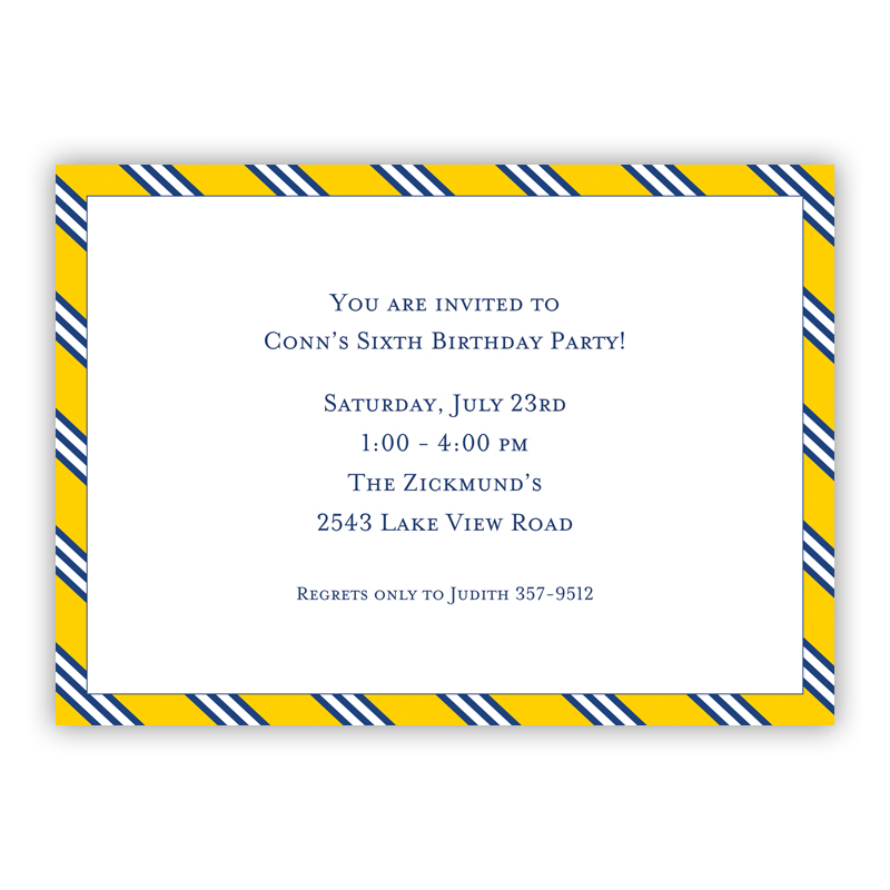 Repp Tie Yellow & Navy Invitation or Announcement, sets of 25