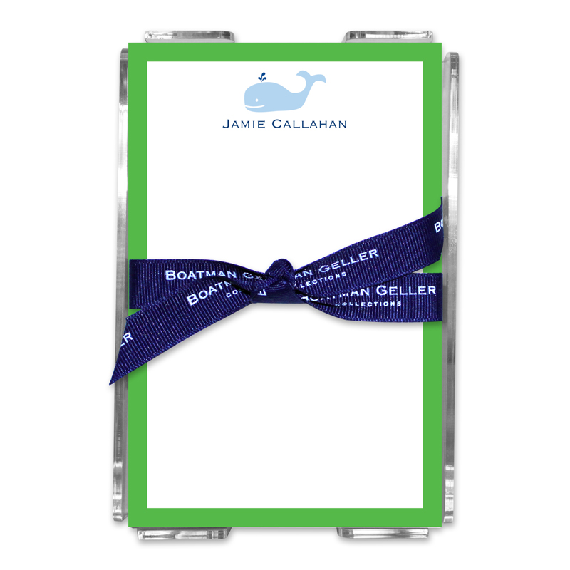 Personalized Whale Note Sheets in Acrylic Holder