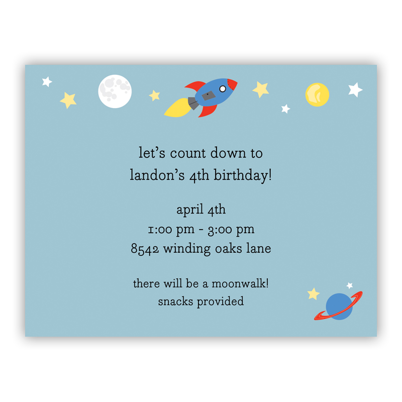 Space Small Flat Invitation or Announcement