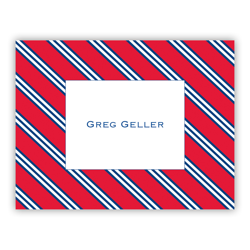 Repp Tie Red & Navy Stationery, 25 Foldover Notecards