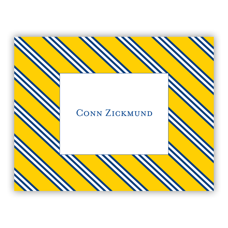 Repp Tie Yellow & Navy Stationery, 25 Foldover Notecards