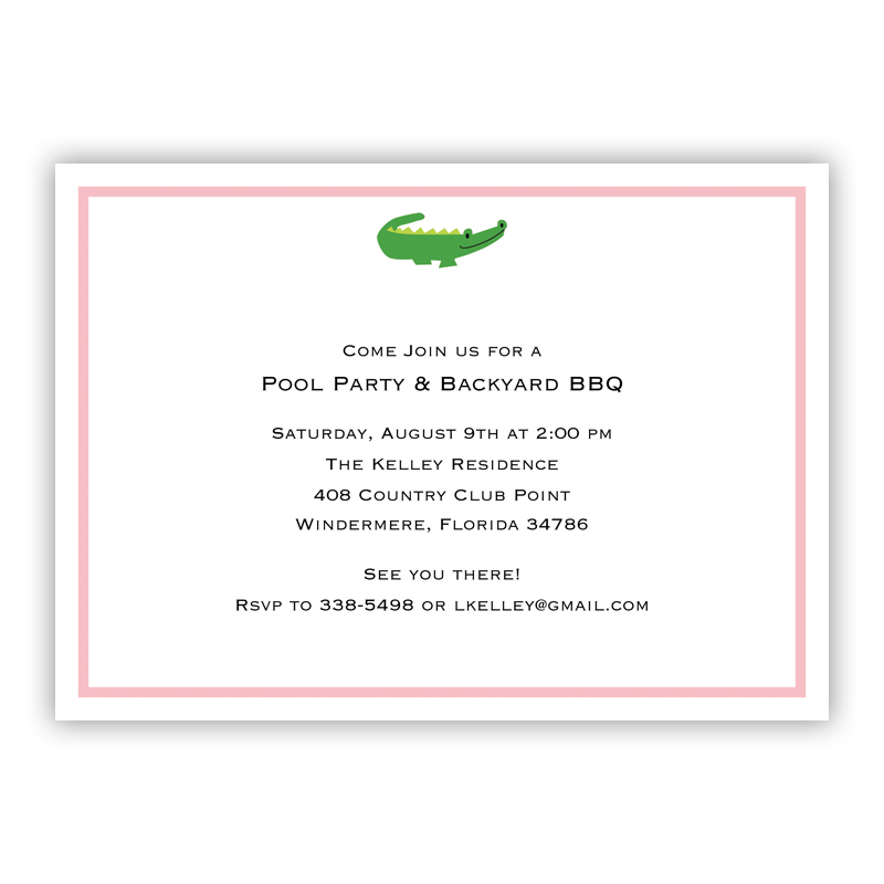 Alligator Invitation or Announcement, sets of 25