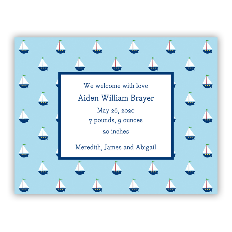 Little Sailboat Small Flat Invitation or Announcement