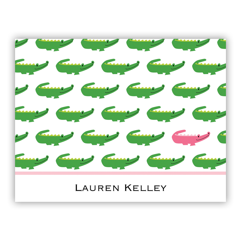 Alligator Repeat Stationery, 25 Foldover Notecards
