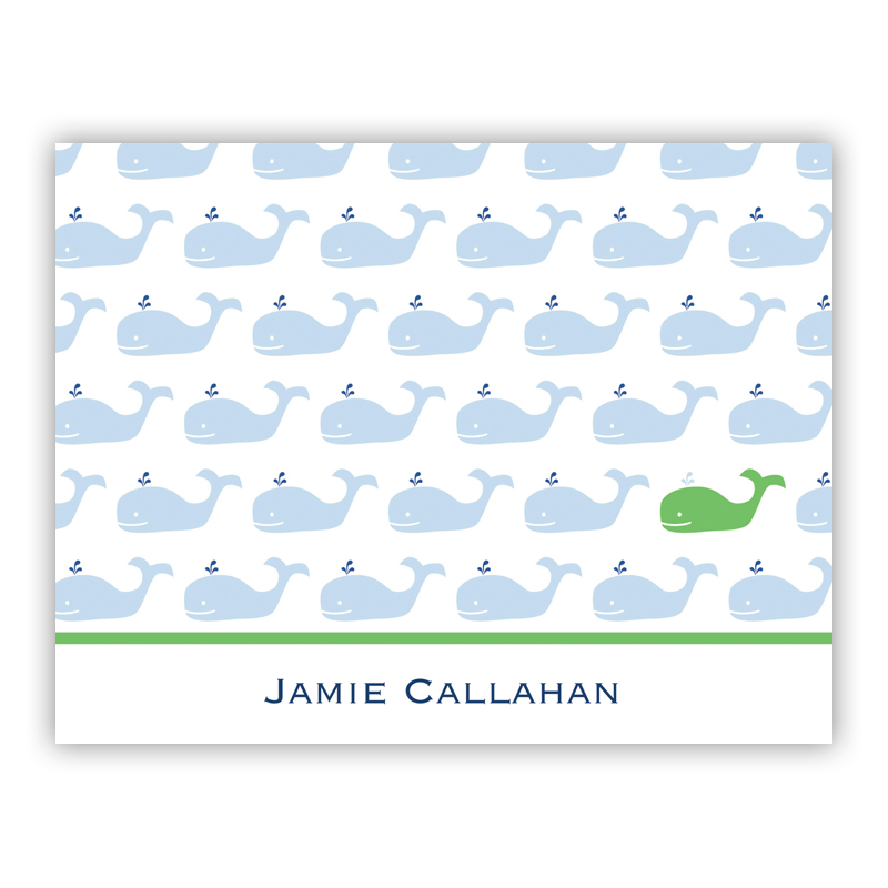 Whale Repeat Stationery, 25 Foldover Notecards