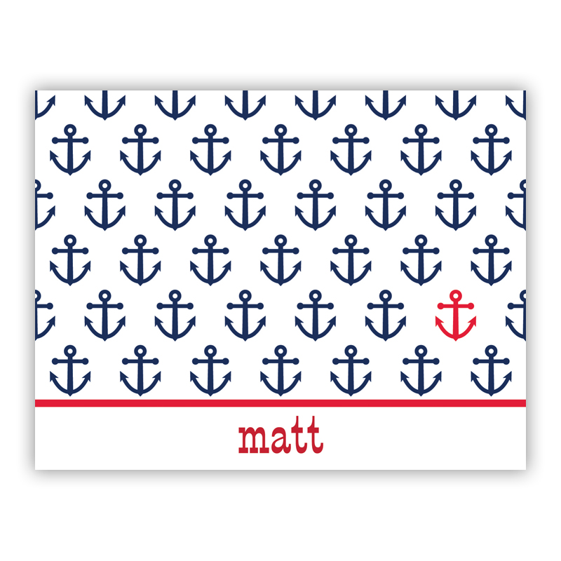 Anchor Repeat Stationery, 25 Foldover Notecards