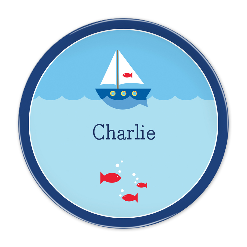 Personalized Sailboat 10 inch Plate
