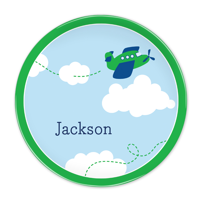 Personalized Airplane 10 inch Plate