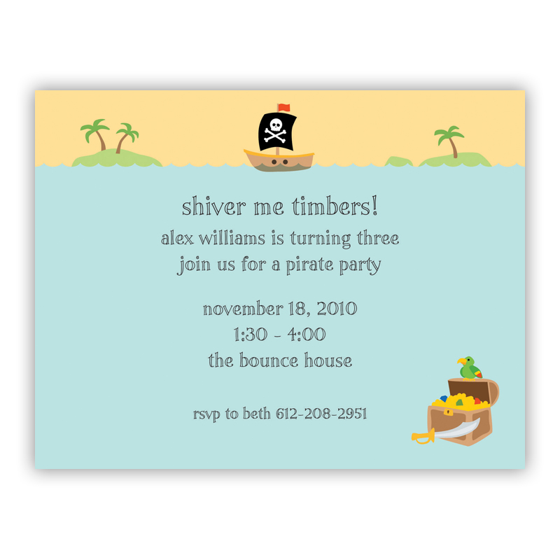 Pirate Small Flat Invitation or Announcement