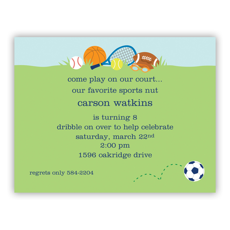 Sports Boy Small Flat Invitation or Announcement
