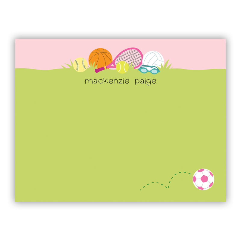 Sports Girl Small Flat Stationery Note