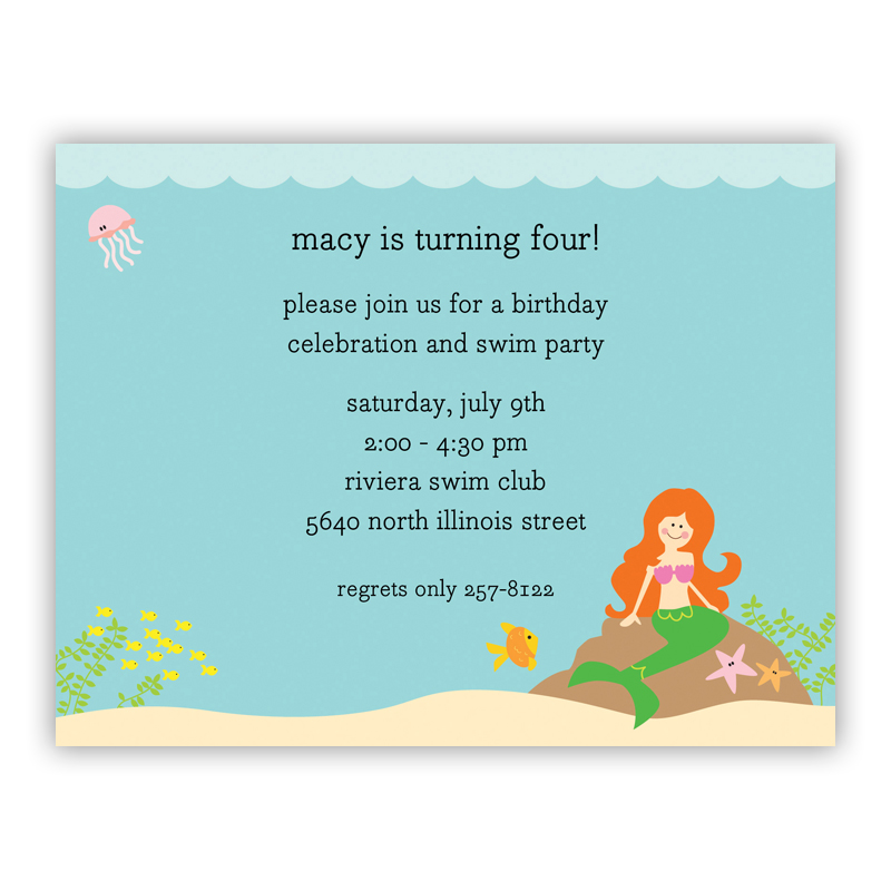 Mermaid, Customized Small Flat Invitation or Announcement